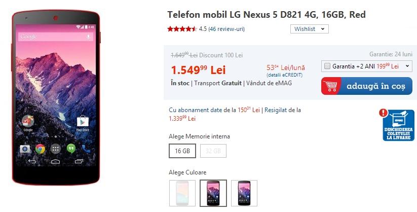 Nexus 5 la reducere