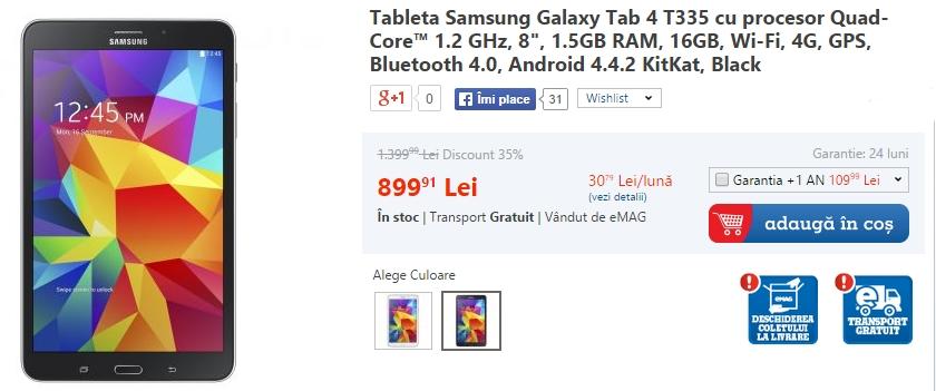 eMAG taie prețurile la Galaxy S5 Mini și la tableta Galaxy Tab 4 T335; promoția mai este valabilă doar astăzi