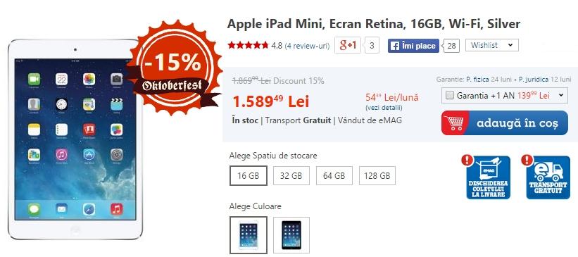 eMAG aplică reduceri cuprinse Între 8 și 15% la tabletele iPad Mini Retina