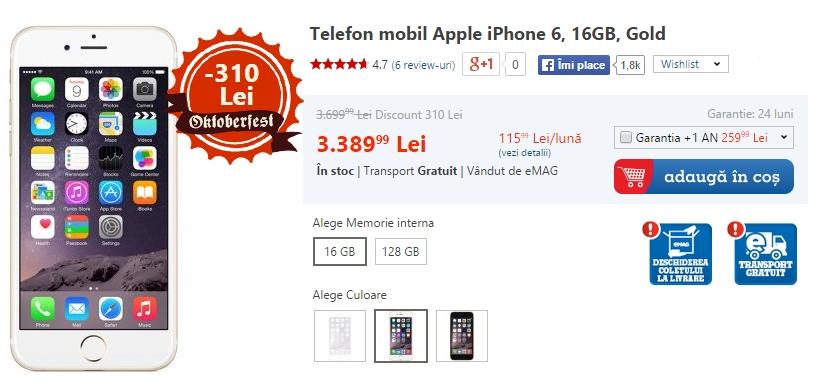 iPhone 6 în versiunea de culoare aurie ce aduce la pachet 16 GB spațiu intern de stocare și o reducere de 9%, prețul său fiind acum sub pragul de 3.400 lei, mai precis 3.389 lei
