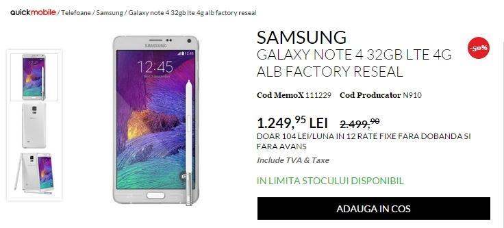 QuickMobile oferă reduceri de până la 50% la telefoanele din ofertă; Samsung Galaxy S6 costă 1.449 lei