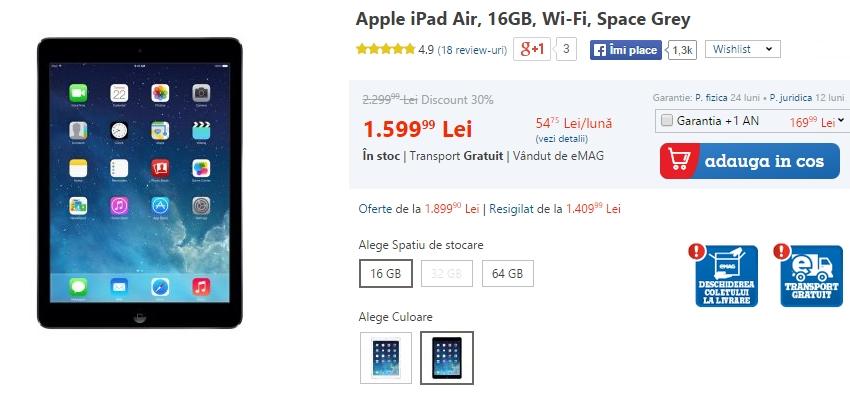 iPad-uri de la eMAG, începând cu prețuri de la 999 lei
