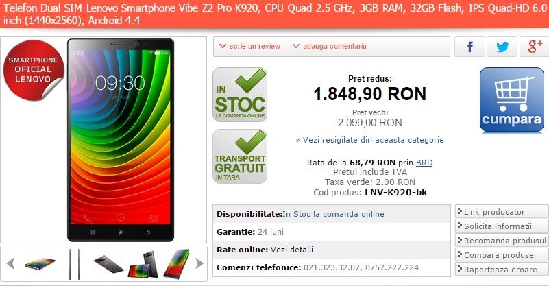 Lenovo Vibe Z2 Pro K920 în versiunea dual-SIM costă acum cu 250 lei mai puțin prin intermediul MarketOnline.ro
