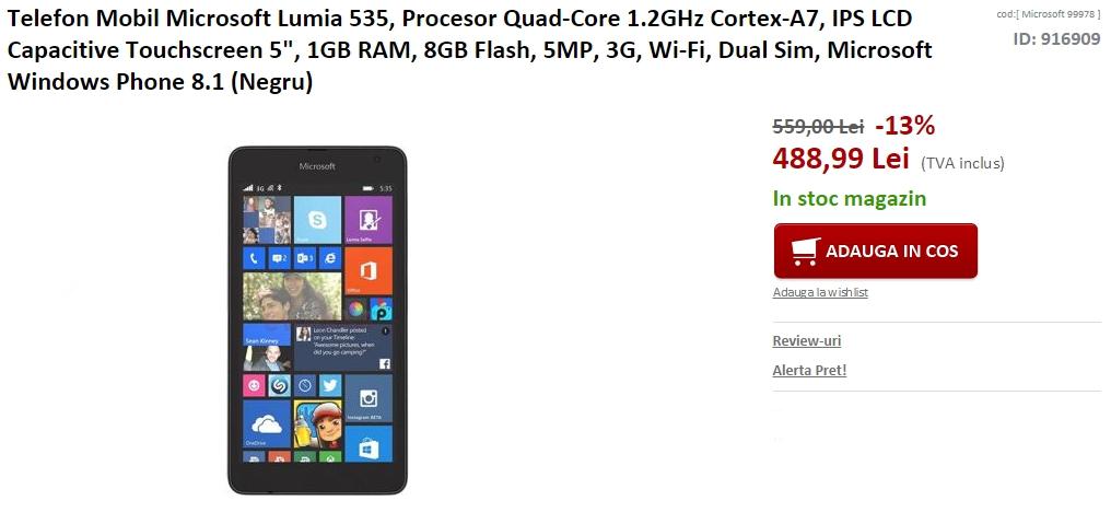 Microsoft Lumia 535 la reducere