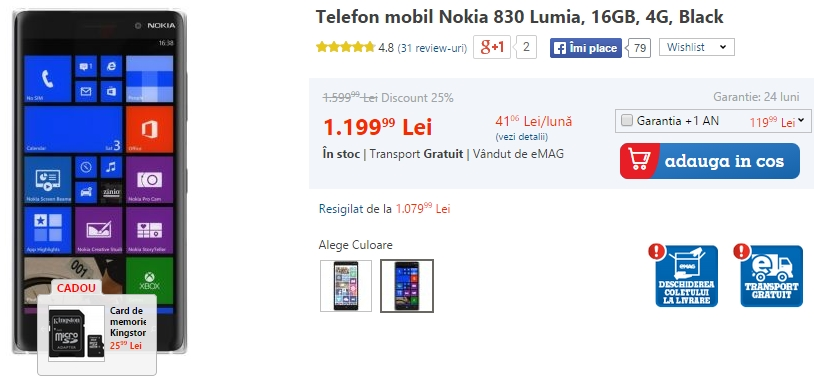 Nokia Lumia 830 la reducere