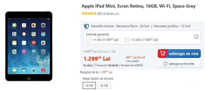 iPad Mini cu ecran Retina la reducere