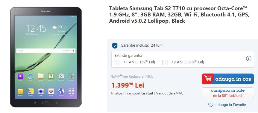 Samsung Galaxy Tab S2 la reducere