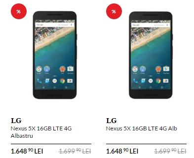Smartphone-ul LG Nexus 5X în varianta cu 16 GB de stocare poate fi achiziționat acum la un preț de 1.649 lei