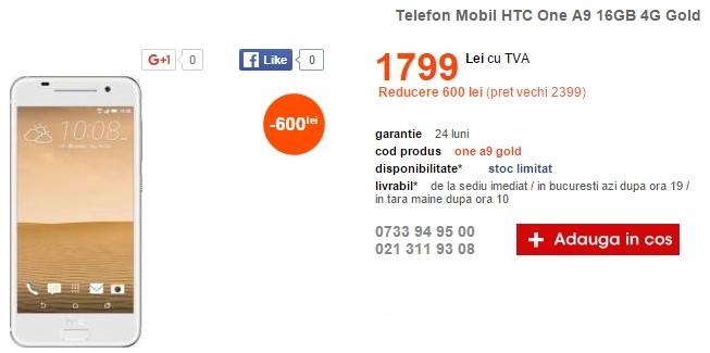 Alertă preț bun! HTC One A9 costă acum 1.799 lei prin intermediul Cel.ro