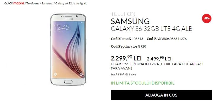Samsung Galaxy S6 la reducere