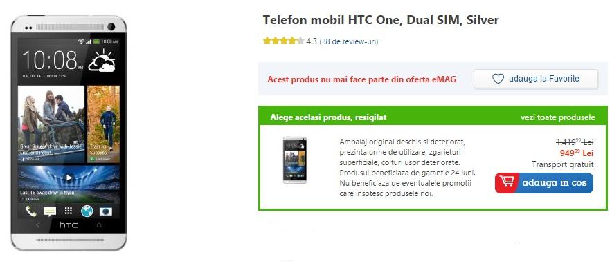 HTC One, telefonul anului 2013 la Mobilissimo, costă acum 949 lei în varianta resigilată pe eMAG.ro
