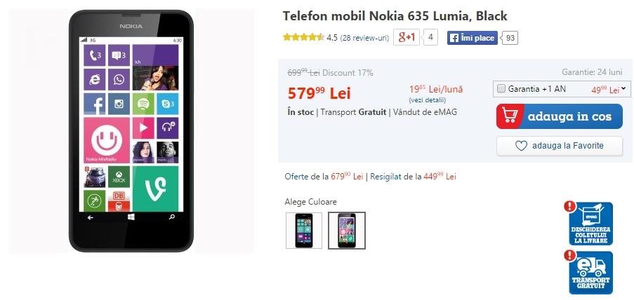 Nokia Lumia 635 la reducere