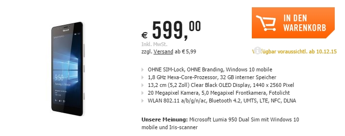 Microsoft Lumia 950 și Lumia 950 XL sunt listate la pre-comandă de câteva magazine europene
