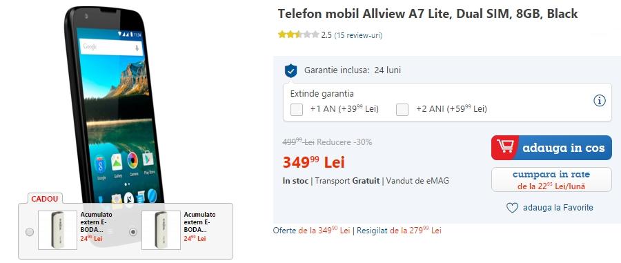 Smartphone-ul Allview A7 Lite costă acum doar 349 lei la eMAG.ro; model entry-level cu Lollipop la bord