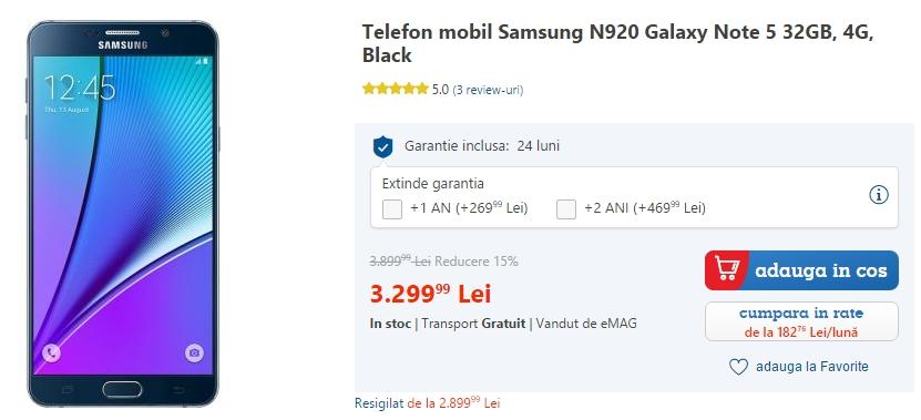 Samsung Galaxy Note 5 la reducere