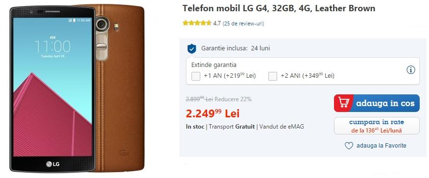 LG G4 la reducere