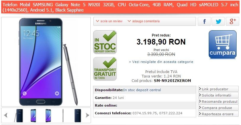Samsung Galaxy Note 5 poate fi achiziționat la prețul de 3.198 lei prin intermediul MarketOnline