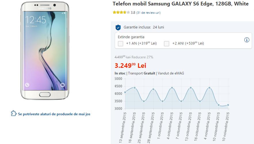 Samsung Galaxy S6 Edge la reducere