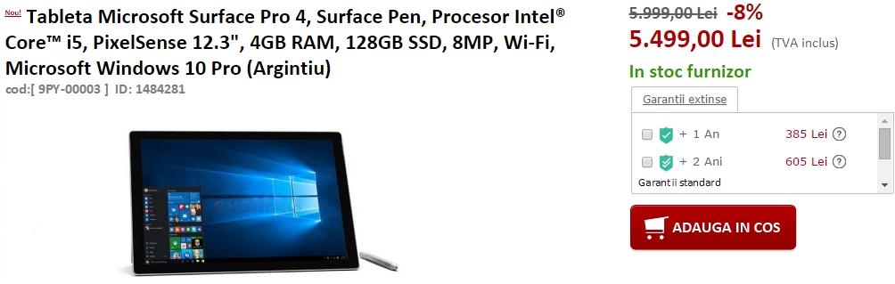 Tableta Microsoft Surface Pro 4 se află în stocul evoMAG.ro; vine în varianta cu SSD de 128 GB și procesor Intel Core i5