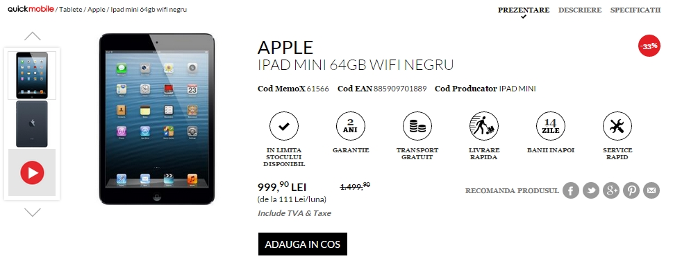 iPad Mini 64 GB la reducere