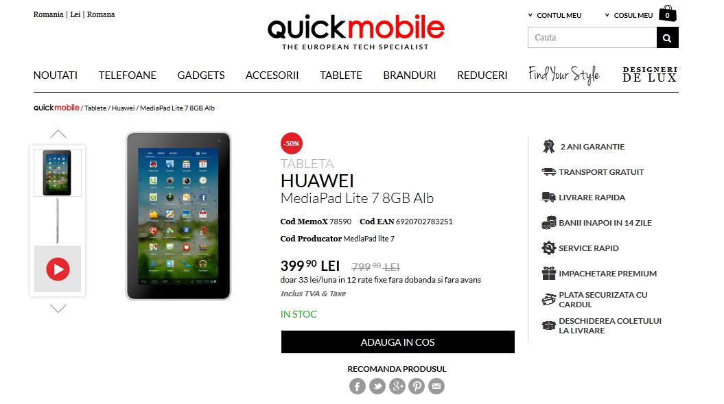 Tableta Huawei MediaPad 7 Lite primeşte un super preţ la Quickmobile.ro, cu ocazia reducerilor de weekend