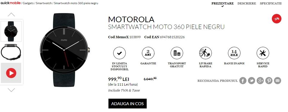 Motorola Moto 360 la reducere