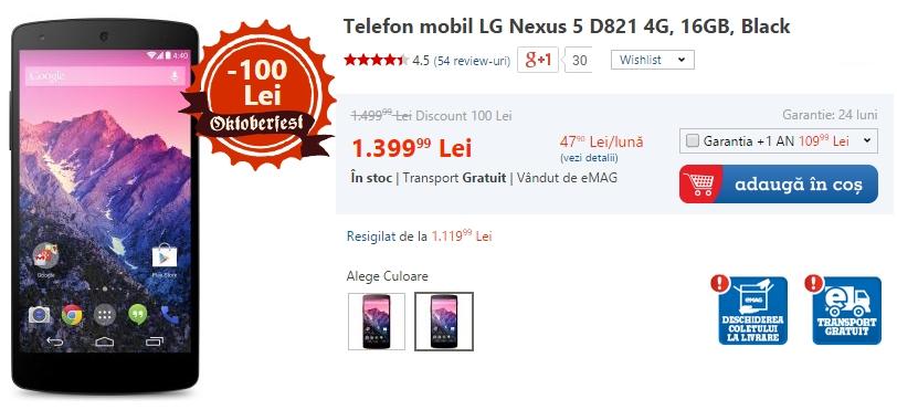 LG Nexus 5 la reducere (eMAG)