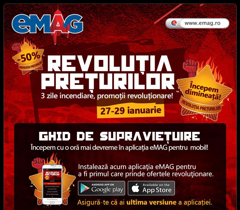 eMAG pregătește Revoluția Prețurilor pentru ziua de mâine; reduceri incendiare timp de 3 zile