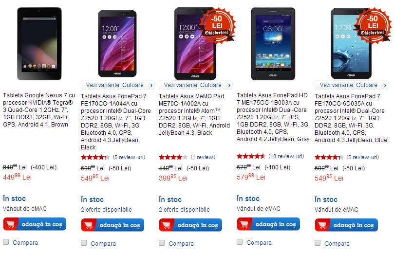 eMAG oferă reduceri de până la 400 lei la tabletele Asus; modelul Nexus 7 costă acum doar 449 lei