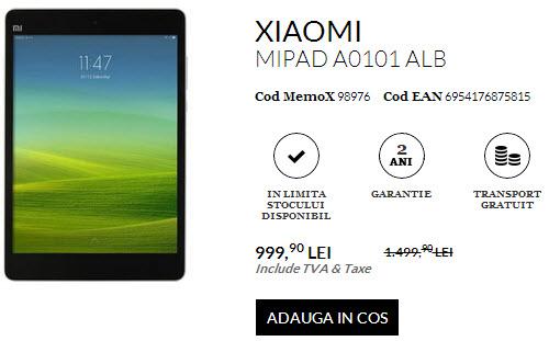 Tableta Xiaomi MiPad ajunge la sub 1000 de lei în România prin QuickMobile.ro