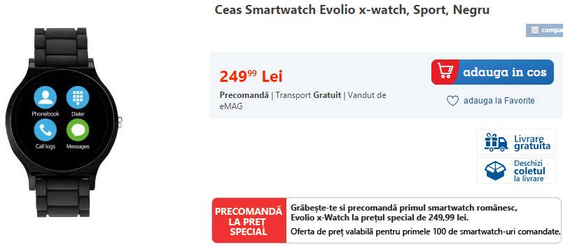 Smartwatch-ul Evolio x-watch disponibil acum la eMAG.ro la precomandă, cu un preţ special