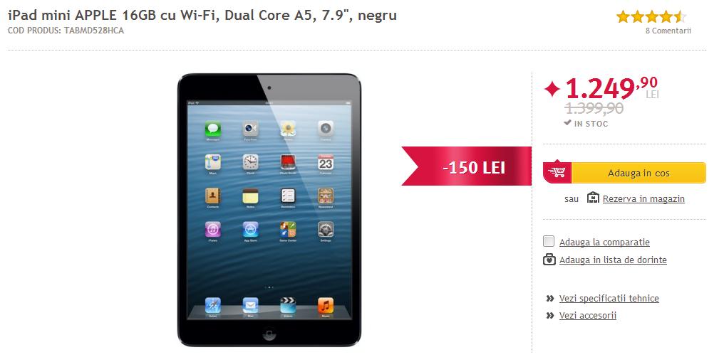 Altex oferă telefoane și tablete cu preț redus! iPad Mini la 1.249 lei