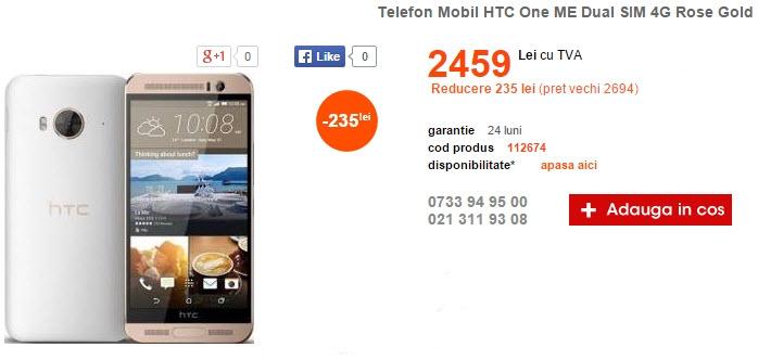 HTC One ME, alternativa mai accesibilă la M9, costă 2.459 lei la Cel.ro