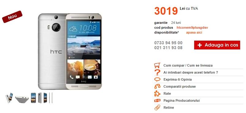 HTC One M9 Plus poposește în oferta Cel.ro; iată cât costă varianta superioară a lui M9