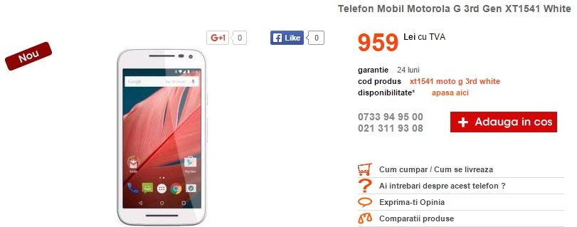 Motorola Moto G (3rd Gen) poposește în oferta Cel.ro; costă 959 lei în varianta cu 1 GB memorie RAM