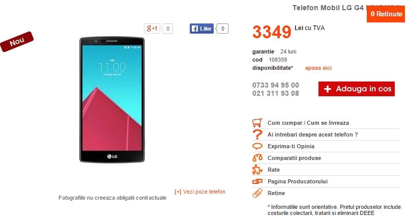 LG G4 ajunge și în oferta CEL.ro la un preț de 3.349 lei