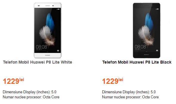 Huawei P8 Lite este disponibil la CEL.ro pentru suma de 1.229 lei