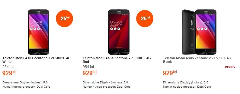 Asus ZenFone 2 (ZE500CL) în versiunea cu display de 5 inch costă 929 lei la Cel.ro