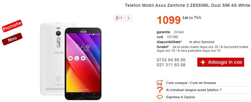 Asus ZenFone 2 Dual-SIM în varianta cu 2 GB RAM sosește și la Cel.ro