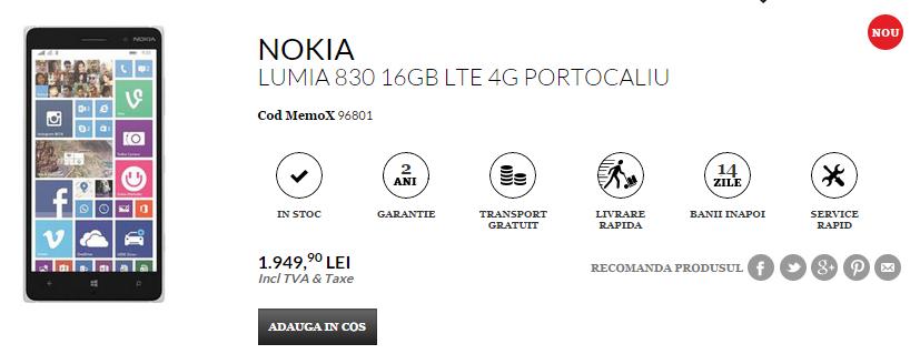 Nokia Lumia 830 ajunge În stocurile QuickMobile la un preț de 1.949 lei