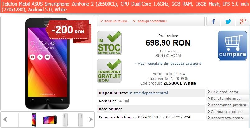Alertă preț bun: Asus ZenFone 2 ZE500CL costă acum doar 689 lei prin intermediul MarketOnline.ro