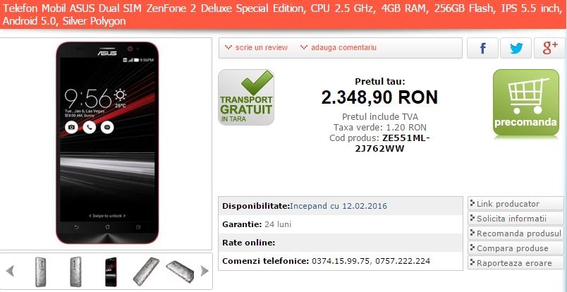 Asus ZenFone 2 Deluxe SE, telefonul cu 256 GB memorie flash, ajunge în stocurile MarketOnline.ro