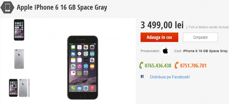 iPhone 6 space gray și gold disponibil acum la MobileTrend.ro, la prețul de 3.499 lei