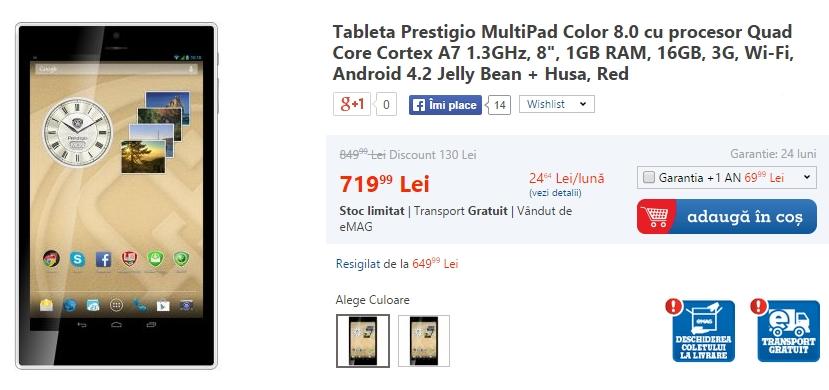 Tableta Prestigio MultiPad 8.0 disponibilă prin eMAG la un preț de 719 lei