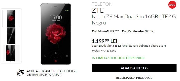 ZTE Nubia Z9 Max disponibil de astăzi în oferta QuickMobile; costă 1.199 lei și aduce 3 GB memorie RAM