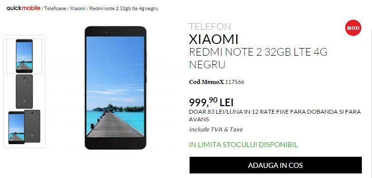 Xiaomi Redmi Note 2 în varianta cu 32 GB de stocare, costă 999 lei la QuickMobile