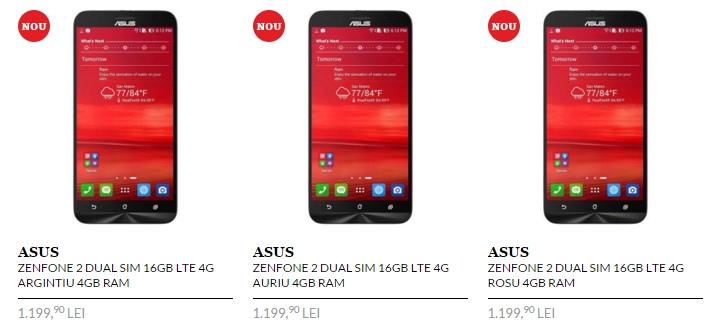 Asus ZenFone 2 în versiunea cu 4 GB RAM și 16 GB de stocare, costă acum 1.199 lei la QuickMobile
