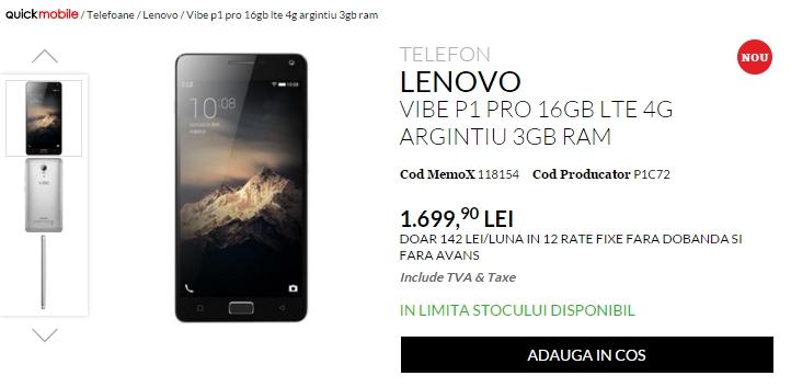 Pret Lenovo Vibe P1 Pro acum la QuickMobile