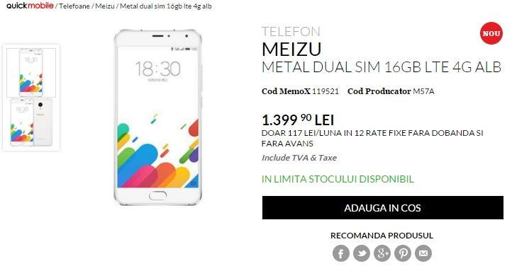 Meizu Metal, de astăzi la QuickMobile; smartphone metalic cu display FHD de 5.5 inch și procesor octa-core