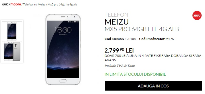 Meizu MX5 Pro ajunge în oferta QuickMobile; phablet cu 4 GB RAM și cameră foto de 21 megapixeli